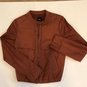 Gap polished cotton flap front bomber